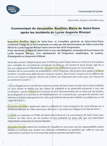 communique du Maire  7:11:2013dhaperon bleu marine