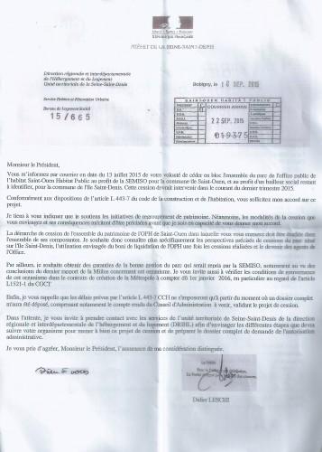 cession Semiso lettre du Prefet